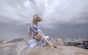 Picture girl, nature, the wind