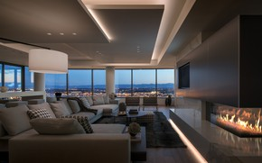 Picture interior, fireplace, megapolis, living room