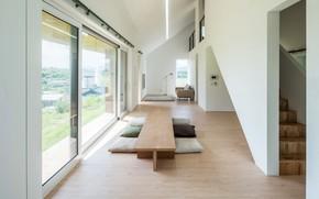 Picture interior, South Korea, living room, dining room, дом в сельской местности, by Stpmj, rural cabin, …