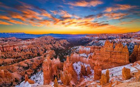Picture the sky, clouds, sunset, mountains, rocks, tops, view, height, dal, USA, canyons, The Grand Canyon, …