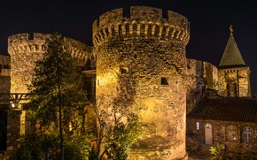 Picture trees, night, lights, wall, lights, tower, fortress, Serbia, Belgrade, Belgrade Fortress