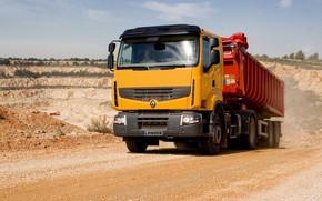 Picture orange, dust, truck, Renault, body, primer, tractor, the trailer, Premium Lander, Renault Trucks