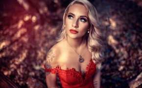 Picture girl, cleavage, dress, breast, photo, photographer, blue eyes, model, tattoo, bokeh, lips, face, blonde, chest, …