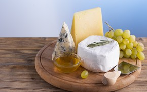 Picture cheese, grapes, honey, Dor blue, Cheese, cheese, Dorblu, noble cheese