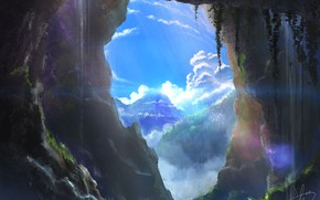 Picture the sky, mountains, nature, cave