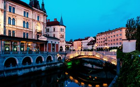 Picture bridge, the city, river, building, home, the evening, Slovenia, Ljubljana