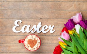 Picture flowers, Board, colorful, Easter, tulips, happy, wood, flowers, tulips, coffee cup, Easter, a Cup of …