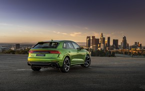 Picture sunset, the city, Audi, rear view, crossover, 2020, RS Q8
