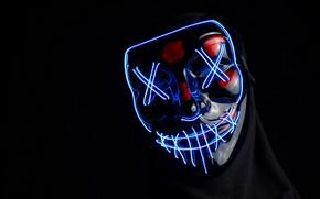 Picture light, neon, mask, black, black background, neon