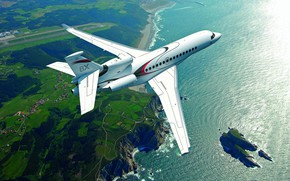 Picture Sea, The plane, Island, Rock, WFP, Dassault Aviation, Dassault Falcon 8X, Business jet, Falcon 8X