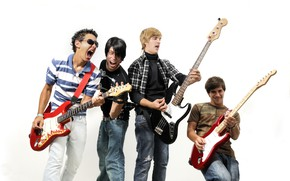Picture music, guitar, group, white background, guys, men, rock-n-roll, musicians