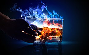Picture FIRE, LIQUID, HAND, FLAME, GLASSES, ALCOHOL, СПИРТ, ГОРЕНИЕ