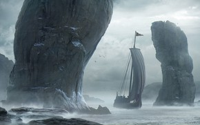 Picture Mountains, Rocks, Ship, Clouds, Sails, Landscape, Water, Skyrim, Sea, Rocks, Vikings, Sailing Ship, Drakkar, Drakkar, …