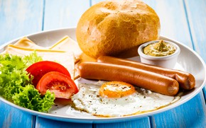 Picture sausage, Breakfast, cheese, bread, tomatoes, mustard