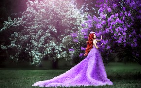 Picture grass, girl, flowers, branches, pose, lawn, glade, spring, garden, dress, fantasy, photographer, red, walk, Princess, ...