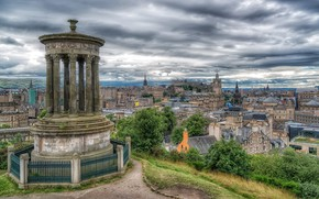 Picture building, home, Scotland, monument, panorama, Scotland, Edinburgh, Edinburgh, Dugald Stewart Monument, Calton Hill, A Monument …