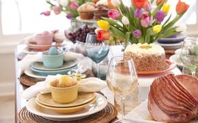 Picture bread, plates, decoration, egg, utensils, napkins