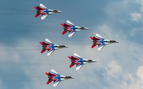 "Wallpaper The MiG-29, multi-role fighter, aerobatic team ""Swifts"""
