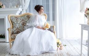 Wallpaper bouquet, dress, the bride, wedding