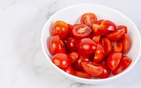 Picture table, Shine, plate, Cup, red, white background, white, bowl, tomatoes, halves, tomatoes, slices, salad, juicy, …