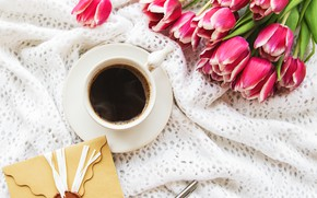 Picture coffee, bouquet, Cup, tulips, the envelope, Olena Rudo