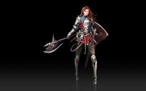 Picture Girl, Fantasy, Art, Style, Minimalism, Characters, Shield, Armor, Ha Donghyun