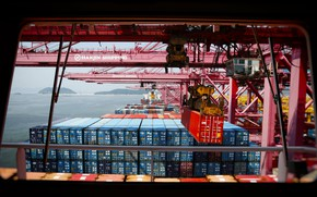 Picture Port, Crane, The ship, A container ship, The bridge, Cargo, Container, Container, Work, Cargo operations, …