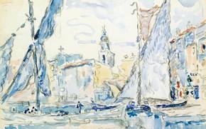 Picture figure, watercolor, 1901, Saint-Tropez, Paul Signac, Paul Signac