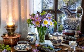 Picture flowers, style, tea, books, lamp, bouquet, kettle, window, mug, Cup, tulips, sugar, pitcher