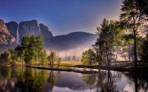 Picture forest, the sky, the sun, trees, mountains, fog, river, rocks, dawn, waterfall, USA, Yosemite, Yosemite …