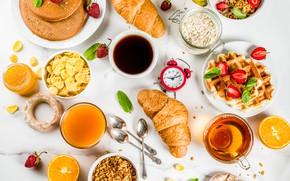 Picture berries, tea, coffee, Breakfast, juice, waffles, cakes, pancakes, orange, granola