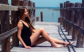 Picture water, the sun, pose, model, portrait, makeup, figure, dress, hairstyle, brown hair, legs, beauty, sitting, …