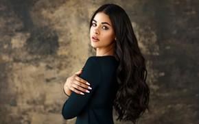 Picture look, pose, background, model, portrait, makeup, brunette, hairstyle, bokeh, manicure, Sergey Bidun