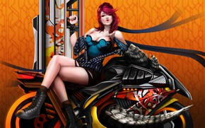 Picture girl, weapons, motorcycle