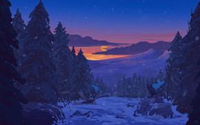 Picture forest, sky, trees, sunset, art, winter, clouds, snow, stars, sun, artist, digital art, artwork, owl, …