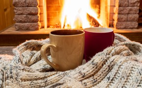 Picture winter, love, fire, scarf, pair, fireplace, love, hot, two, winter, cup, romantic, couple, coffee, fireplace, …