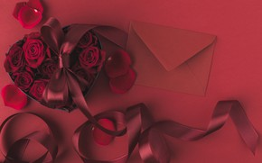 Picture flowers, roses, bouquet, tape, The envelope