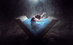 Picture water, the dark background, rain, people, rain, water, man, dip, fantasy art, knowledge, open book, …