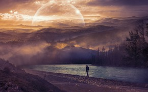 Picture forest, the sky, sunset, mountains, fog, river, loneliness, rendering, dawn, hills, shore, one, people, planet, …