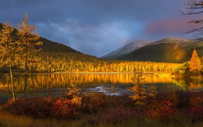 Picture autumn, sunset, mountains, nature, lake