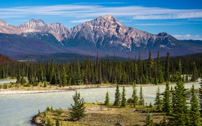 Picture forest, the sky, clouds, mountains, river, blue, rocks, hills, blue, shore, tops, ate, Canada, Albert, ...