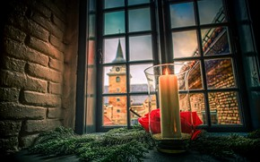 Picture castle, tower, candle, window, Christmas, Norway, fortress, Oslo, spruce branches, Akershus Fortress
