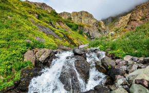 Picture mountains, stream, stones