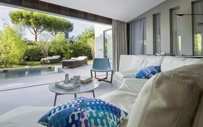 Picture interior, pool, terrace, living room, Saint-Tropez
