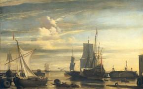 Picture ship, oil, sailboat, picture, canvas, Jan Claesz Rietschoof, 1699, Harbour at sunset, Jan Claes Retsof