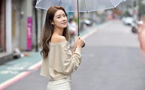 Picture girl, umbrella, street, Asian, cutie, bokeh