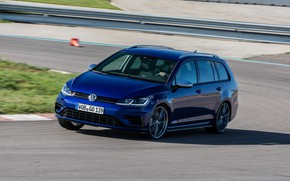 Picture blue, track, Volkswagen, universal, 2017, Golf R Variant