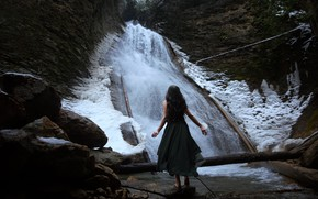 Picture girl, rock, stones, waterfall, the situation, barefoot, hands, dress, logs