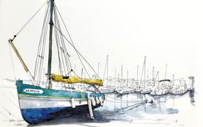 Picture figure, sailboat, port