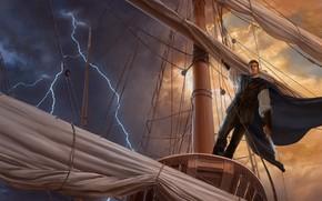 Wallpaper lightning, pirate, male, mast
